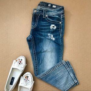Miss Me Jeans Signature Cuffed Capris Distressed